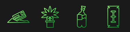 Set line Bong for smoking marijuana, Cocaine and credit card, Marijuana or cannabis plant in pot and Blade razor. Gradient color icons. Vector