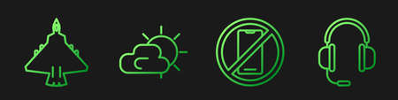 Set line No cell phone, Jet fighter, Sun and cloud weather and Headphones with microphone. Gradient color icons. Vector