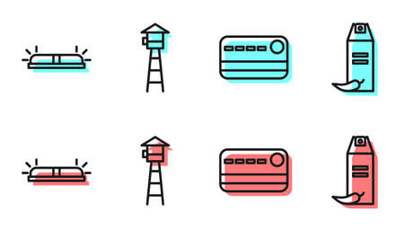 Set line Credit card, Flasher siren, Watch tower and Pepper spray icon. Vector