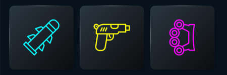 Set line Rocket, Brass knuckles and Pistol or gun. Black square button. Vector