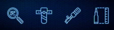 Set line Anti-tank hand grenade, Pistol or gun search, Knife holster and Bullet. Glowing neon icon on brick wall. Vector