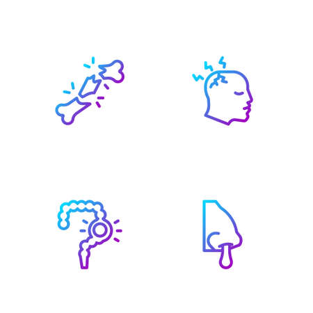 Set line Runny nose, Gut constipation, Human broken bone and Man having headache. Gradient color icons. Vector