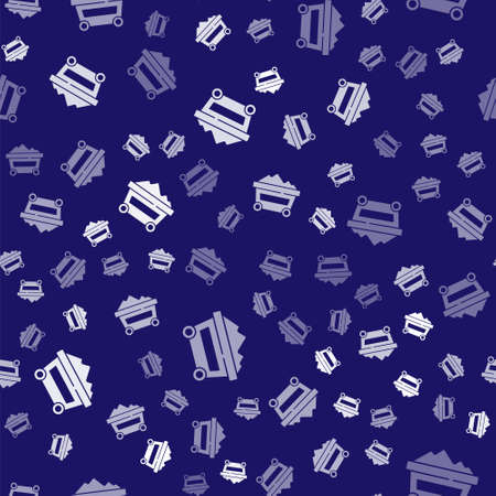 White Coal mine trolley icon isolated seamless pattern on blue background. Factory coal mine trolley. Vector