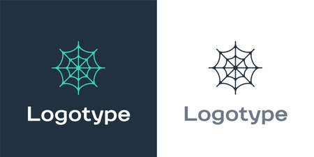Logotype Spider web icon isolated on white background. Cobweb sign. Happy Halloween party. Logo design template element. Vector 矢量图像