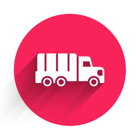 White Military truck icon isolated with long shadow. Red circle button. Vector