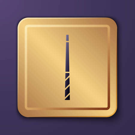 Purple Billiard cue icon isolated on purple background. Gold square button. Vector