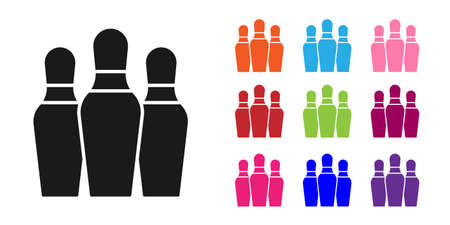 Black Bowling pin icon isolated on white background. Set icons colorful. Vector Ilustração