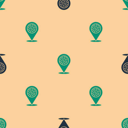 Green and black Map pointer with golf sport club icon isolated seamless pattern on beige background. Vector