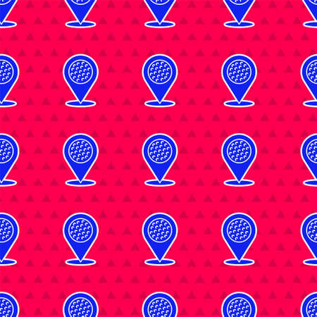 Blue Map pointer with golf sport club icon isolated seamless pattern on red background. Vector