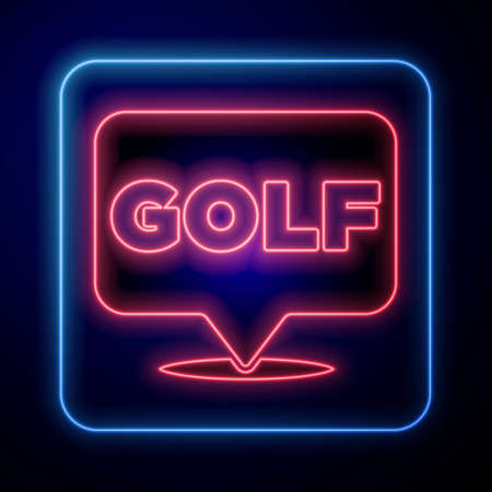 Glowing neon Golf label icon isolated on black background. Vector