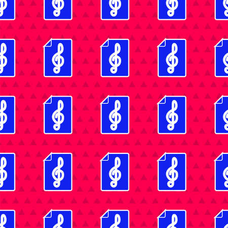 Blue Treble clef icon isolated seamless pattern on red background. Vector
