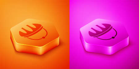 Isometric Bicycle helmet icon isolated on orange and pink background. Extreme sport. Sport equipment. Hexagon button. Vector