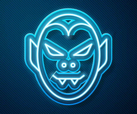 Glowing neon line Vampire icon isolated on blue background. Happy Halloween party. Vector