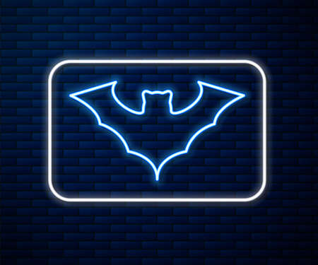 Glowing neon line Flying bat icon isolated on brick wall background. Vector Иллюстрация