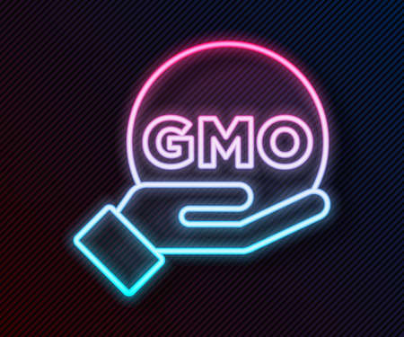 Glowing neon line GMO icon isolated on black background. Genetically modified organism acronym. Dna food modification. Vector