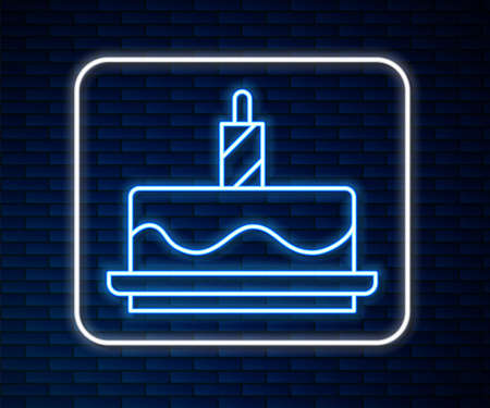 Glowing neon line Cake with candles icon isolated on brick wall background. Happy Birthday. Vector Ilustração