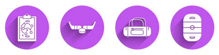 Set Planning strategy, Ice hockey sticks and puck, Sport bag and Ice hockey rink icon with long shadow. Vector