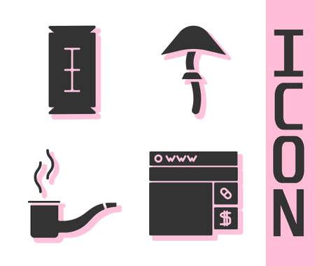 Set Buying drugs online, Blade razor, Smoking pipe and Psilocybin mushroom icon. Vector