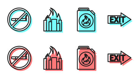 Set line Canister for flammable liquids, No Smoking, Fire in burning buildings and Fire exit icon. Vector Illusztráció