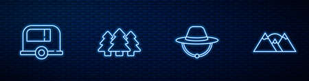 Set line Camping hat, Rv trailer, Forest and Mountains. Glowing neon icon on brick wall. Vector