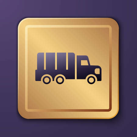 Purple Military truck icon isolated on purple background. Gold square button. Vector