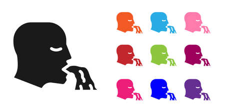 Black Vomiting man icon isolated on white background. Symptom of disease, problem with health. Nausea, food poisoning, alcohol poisoning concept. Set icons colorful. Vector