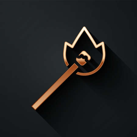 Gold Burning match with fire icon isolated on black background. Match with fire. Matches sign. Long shadow style. Vector Ilustração