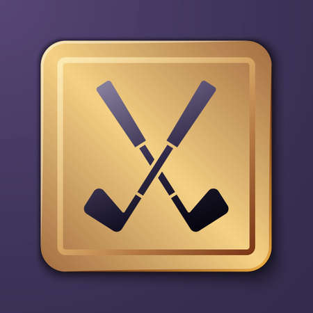 Purple Crossed golf club icon isolated on purple background. Gold square button. Vector