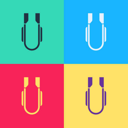Color Meat tongs icon isolated on white background. BBQ tongs sign. Barbecue and grill tool. Abstract banner with liquid shapes. Vector