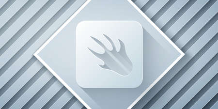 Paper cut Alligator crocodile paw footprint icon isolated on grey background. Paper art style. Vector