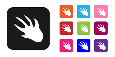 Black Alligator crocodile paw footprint icon isolated on white background. Set icons colorful. Vector