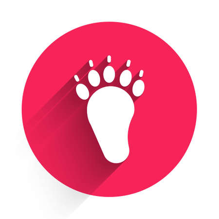 White Bear paw footprint icon isolated with long shadow. Red circle button. Vector Illusztráció