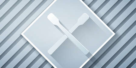 Paper cut Drum sticks icon isolated on grey background. Musical instrument. Paper art style. Vector