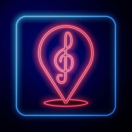 Glowing neon Treble clef icon isolated on black background. Vector Illusztráció
