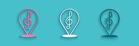Paper cut Treble clef icon isolated on blue background. Paper art style. Vector Illusztráció