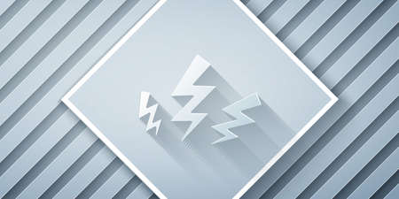 Paper cut Zeus icon isolated on grey background. Greek god. God of Lightning. Paper art style. Vector