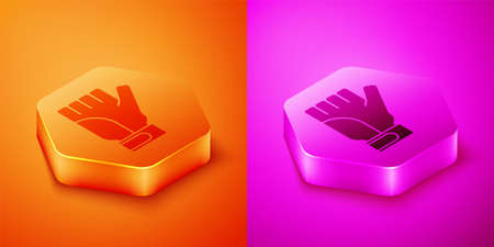 Isometric Gloves icon isolated on orange and pink background. Extreme sport. Sport equipment. Hexagon button. Vector Illusztráció
