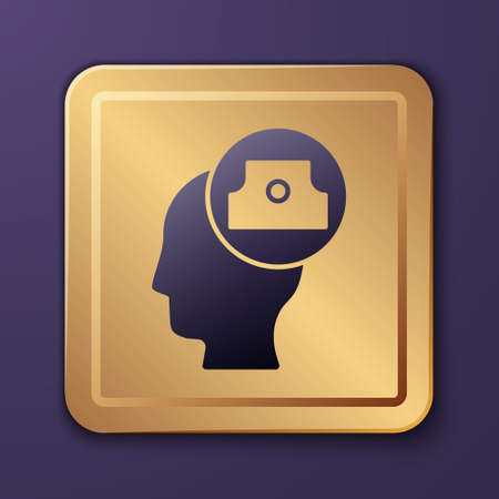 Purple Spray can nozzle cap icon isolated on purple background. Gold square button. Vector