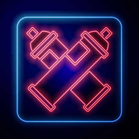 Glowing neon Paint spray can icon isolated on black background. Vector Illusztráció