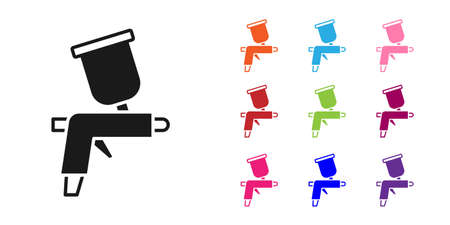 Black Paint spray gun icon isolated on white background. Set icons colorful. Vector