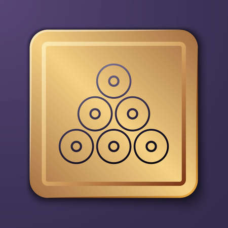 Purple Paint spray can icon isolated on purple background. Gold square button. Vector