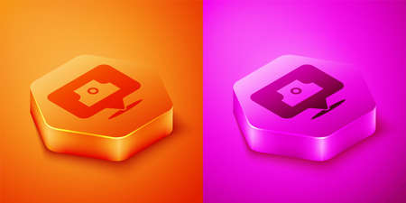 Isometric Spray can nozzle cap icon isolated on orange and pink background. Hexagon button. Vector
