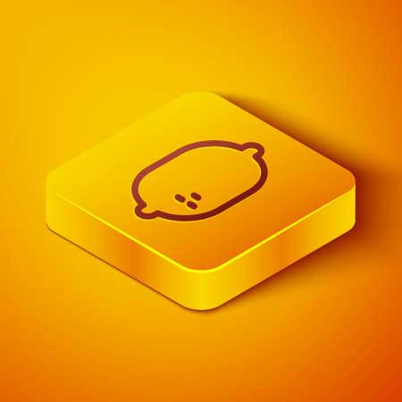 Isometric line Lemon icon isolated on orange background. Yellow square button. Vector Illustration Illusztráció