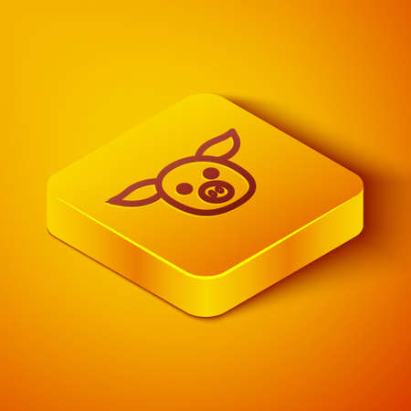 Isometric line Pig icon isolated on orange background. Animal symbol. Yellow square button. Vector