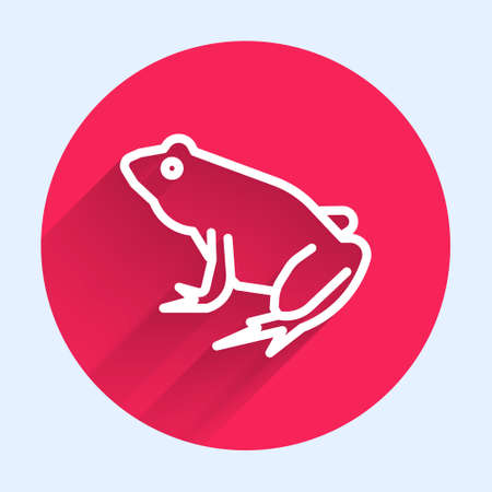 White line Frog icon isolated with long shadow. Animal symbol. Red circle button. Vector