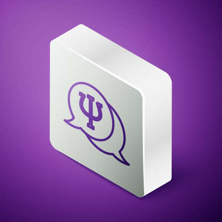 Isometric line Psychology icon isolated on purple background. Psi symbol. Mental health concept, psychoanalysis analysis and psychotherapy. Silver square button. Vector Illusztráció