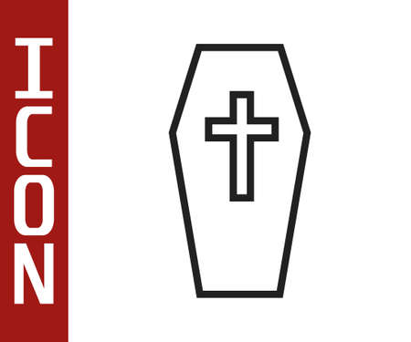 Black line Coffin with christian cross icon isolated on white background. Happy Halloween party. Vector