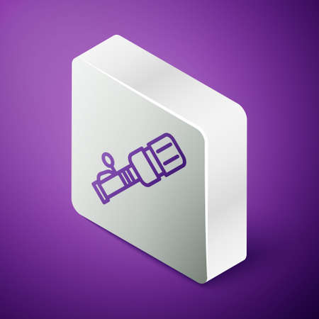 Isometric line  anti-tank hand grenade icon isolated on purple background. Silver square button. Vector