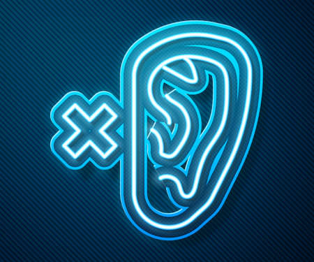 Glowing neon line Deafness icon isolated on blue background. Deaf symbol. Hearing impairment. Vector