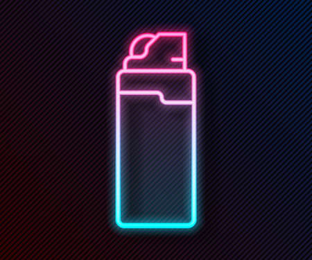Glowing neon line Lighter icon isolated on black background. Vector